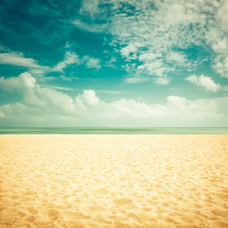 sunny beach: Sunshine on empty beach - vintage look