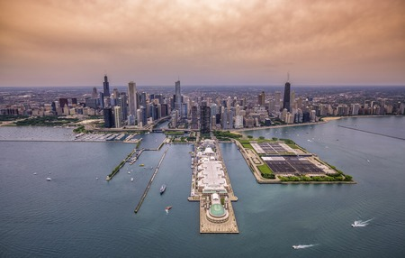 aerial views: Aerial Chicago panorama cityscape