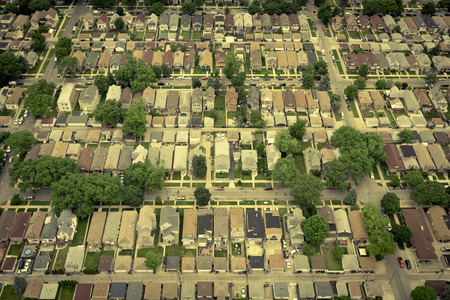 Typical american residential area - aerial vintage view photo