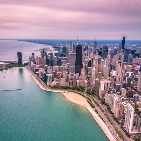 Downtown of Chicago aerial view