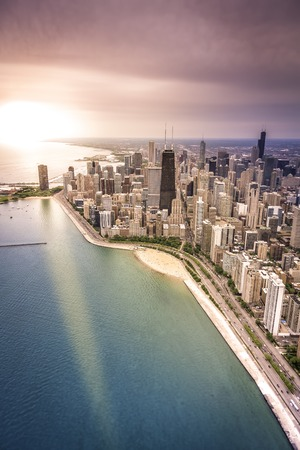 Downtown of Chicago aerial view photo