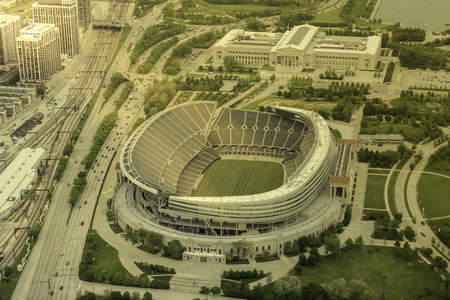 Soldiers Filed Stadium in Chicago aerial view