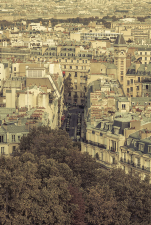 Typical street in Paris - aerial view photo