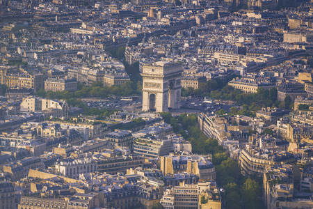 Arch of Triumph aerial view in  Paris, France