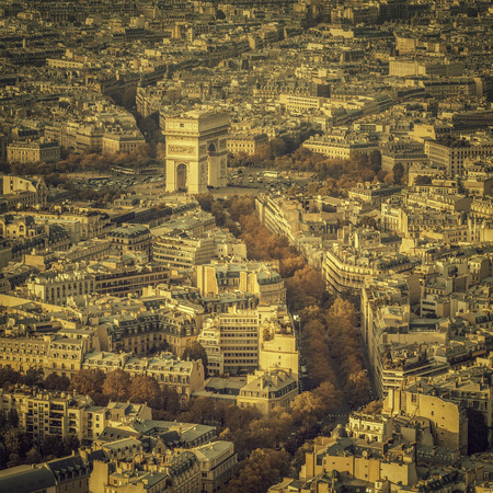 Arch of Triumph autumn scenery aerial view in  Paris, France