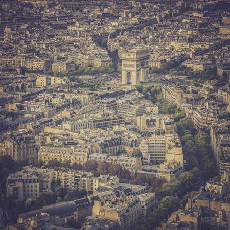 Arch of Triumph vintage aerial view in  Paris, France