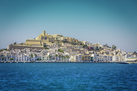 Ibiza Eivissa old town with blue Mediterranean sea city view, Spain