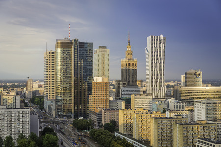 Warsaw downtown in late summer afternoon, Poland