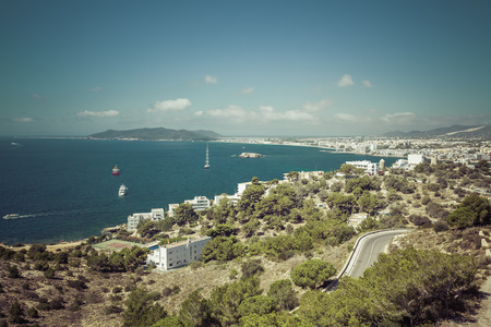 Ibiza Eivissa with blue Mediterranean sea city view, Spain