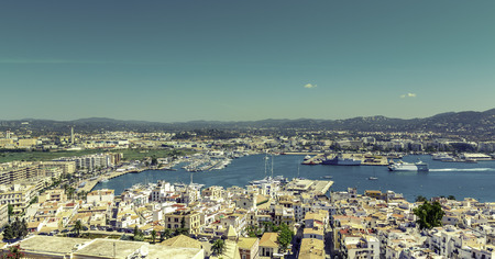 Ibiza Town and harbor in Balearic Islands, Spain