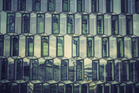 glass reflection: Glass facade with reflection of abstract building