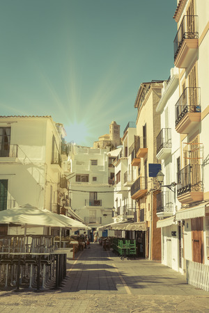typical: Typical street in old town of Ibiza, in Balearic Islands, Spain, with a retro effect Stock Photo