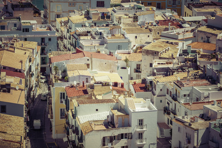 The rooftops of old city in Ibiza, Spain Imagens