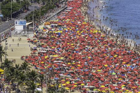 Crowded Copacabana beach in Rio de Janeiro, Brazil Stock Photo