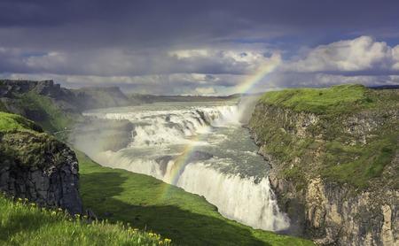 Gulfoss (Golden Falls) waterfall in Iceland photo