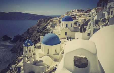 Oia village in Santorini island, Greece-vintage look photo