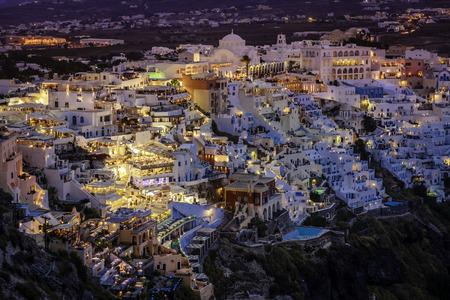 Night view of Fira on island of Santorini in Greece