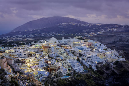 fira: City of Fira at dusk, Santorini, Greece