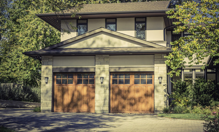two car garage: Traditional two car wooden garage Editorial