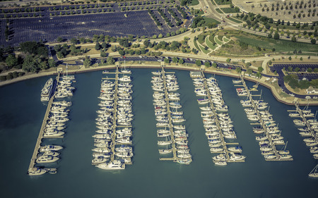 super yacht: Barche in piccolo porto, vista aerea Archivio Fotografico