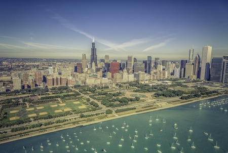 lakefront: Chicago skyline panorama aerial view