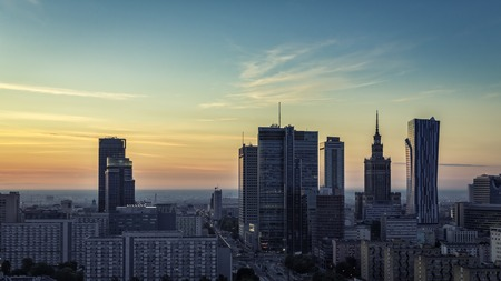 Warsaw Downtown sunrise aerial view, Poland
