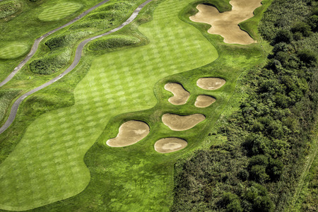 aerial views: Aerial view of golf course Stock Photo