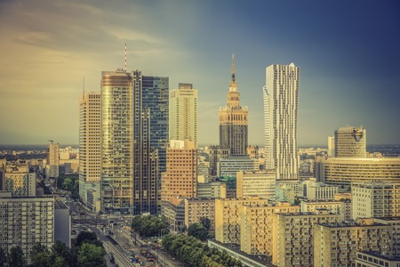 Warsaw financial center in late  afternoon, Poland photo