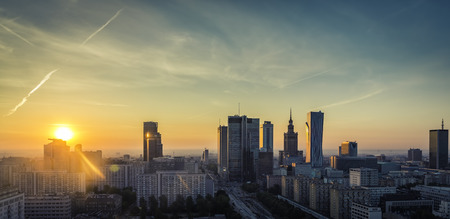 Warsaw downtown sunrise aerial view, Poland Stock fotó