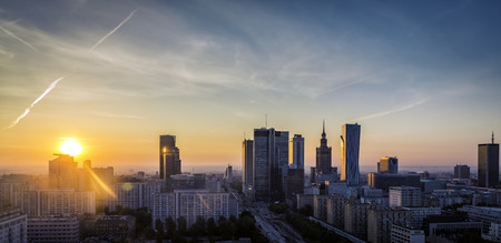 Warsaw Downtown sunrise aerial view, Poland Stok Fotoğraf - 33275515