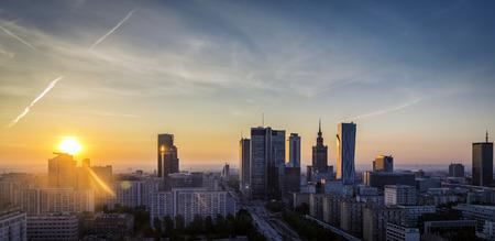 Warschau Downtown zonsopgang luchtfoto, Polen Stockfoto