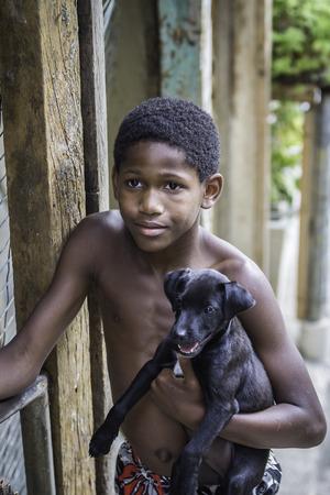 illiteracy: Boy ingenio un perro en las favelas (barrios marginales) de R�o de Janeiro Editorial