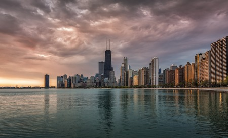 Chicago Downtown beautiful sunrise with water reflections photo