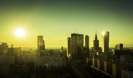warszawa: Morning sunrise above Warsaw Downtown, Poland