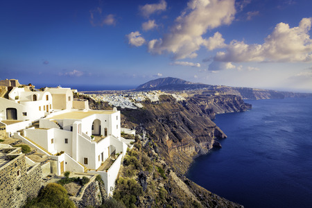White houses on the cliff of Santorini Island, Greece