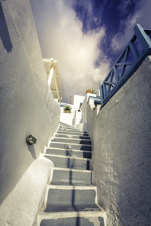 Traditional steps leading to house in Santorini Island, Greece photo