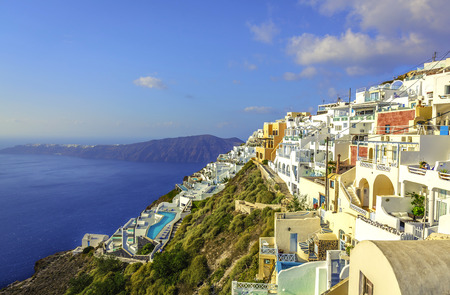 White houses on the cliff of Santorini Island, Greece photo