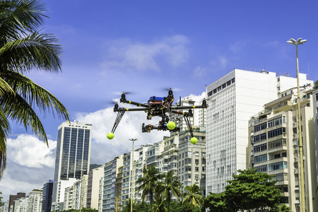 turning operation: Drone flying above residential area in Rio de Janeiro- Brazil