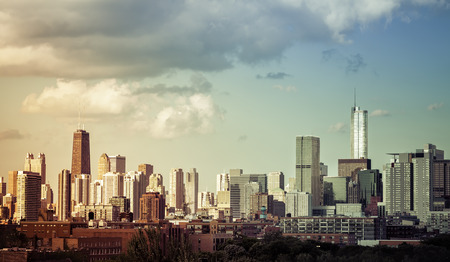 commercial real estate: Chicago Downtown skyline with light leaks Stock Photo