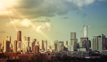 Chicago Downtown skyline with light leaks Stockfoto