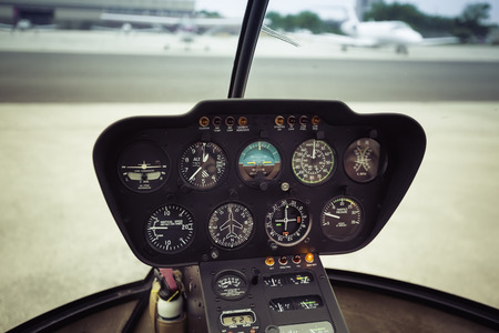 Avionics instrumentation panel on helicopter board photo