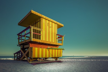 south space: Lifeguard Tower in South Beach with copy space, Miami Beach, Florida Stock Photo