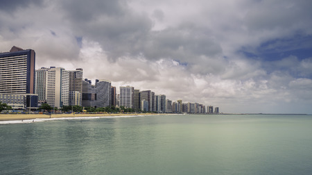 Fortaleza Beach with tall buildings in Ceara state, Brazil - vintage look