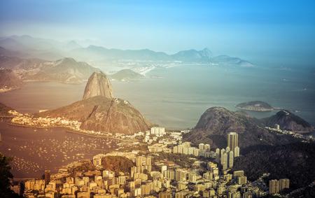 Panorama of Rio de Janeiro with light leaks, Brazil photo