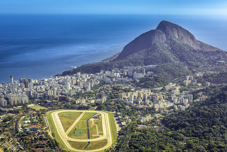 race track: Aerial view of Ipanema Beach and race track, Rio de Janeiro Stock Photo