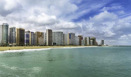Fortaleza Beach with tall buildings in Ceara state, Brazil Foto de archivo