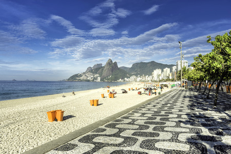 brazil beach: Morning on Ipanema Beach with mosaic walkway in Rio de Janeiro,Brazil Stock Photo