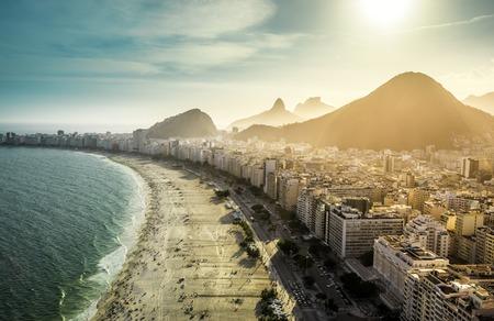 Aerial view of famous Copacabana Beach in Rio de Janeiro, Brazil 스톡 콘텐츠