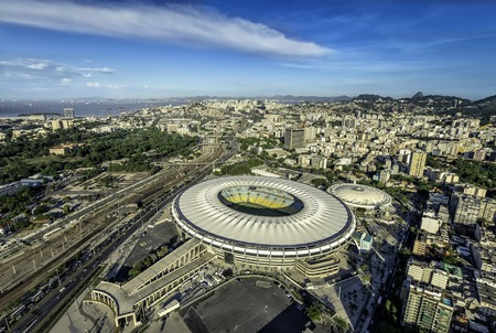 Aerial view of a soccer field Maracana Stadium in Rio de Janeiro, Brazil