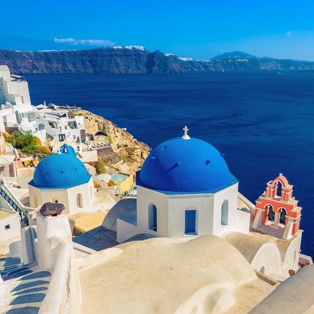 Santorini blue dome churches, Greece Foto de archivo